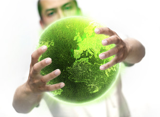 Man holding green planet full of lights