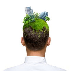 man with green city on his head