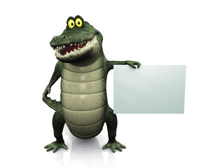 Cartoon crocodile holding blank sign.