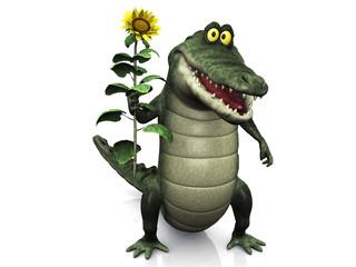 Cartoon crocodile holding sunflower.
