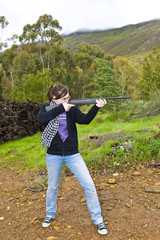 Girl shooting airgun
