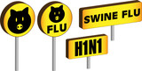 Four 3D Swine flu H1N1 Signs poster