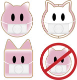 4 pig faces with swine flu poster