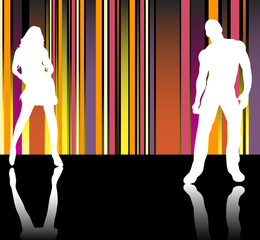 Sexy couple silhouettes in front of striped background