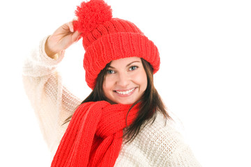 Funny young woman wearing red scarf and cap