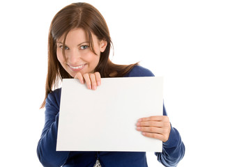 Beautiful woman holding blank note card