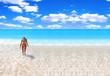 tanned blond woman in bikini in the sea