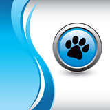 paw print vertical wave layout colored blue poster