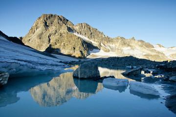 Gletschersee mit Piz Buin und Spiegelung