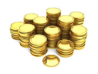 Stacks of gold coins isolated on white background