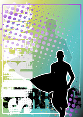 surfing golden poster background 1