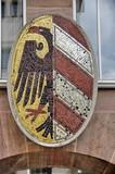 Ecusson en mosaique aigle noir et bandes argent et rouge poster
