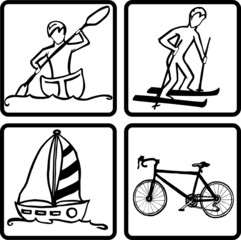 Recreation Symbols-Boating, Rowing, Skiing, Biking