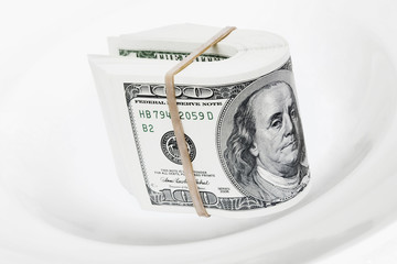 dollars bank notes serve on white plate