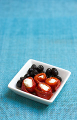 roasted peppers stuffed with feta and olives