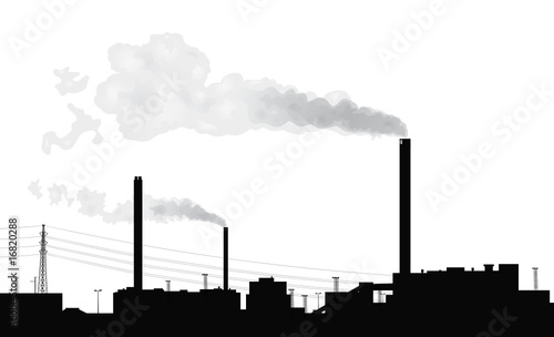 Silhouette of a factory.