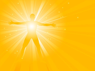 Silhouette of a man with sunburst from his energy