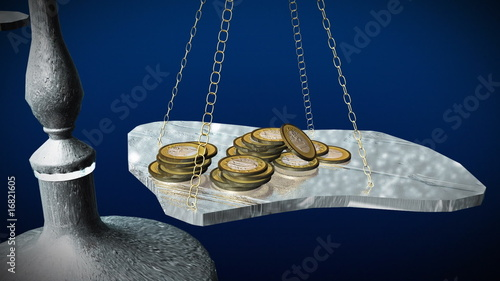 Animation 3D of a balance with money
