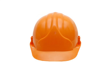 Orange helmet isolated on white background