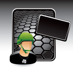 Military soldier black hexagon template