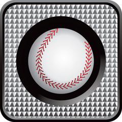 Checkered web button with baseball
