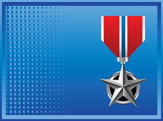 Military medal blue halftone banner