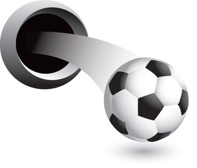 soccer ball popping out of hole