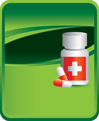 Medicine bottle green background
