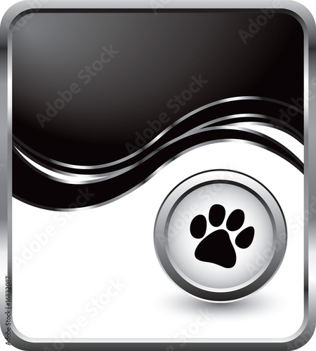 Paw print black wave background