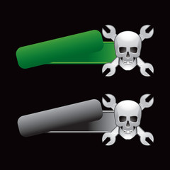 skulls and wrenches tilted banners colored green