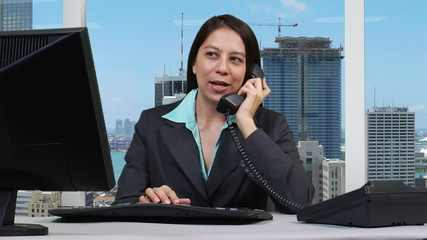 Supervisor talking on headset - skyline version