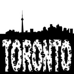 Toronto skyline with grunge text