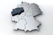 Leinwanddruck Bild - Deutschlandkarte Nordrhein Westfalen NRW