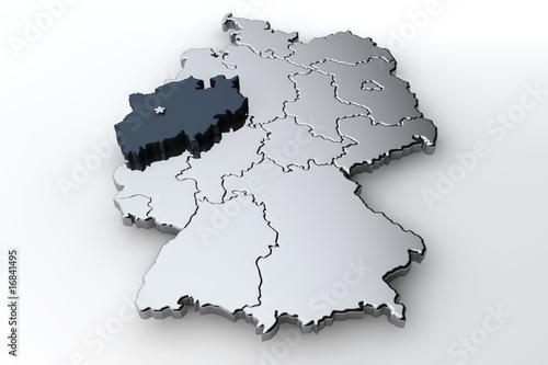 Leinwanddruck Bild Deutschlandkarte Nordrhein Westfalen NRW