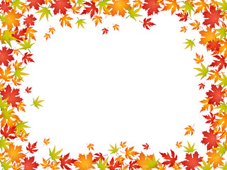 Colorful frame of autumn leaves