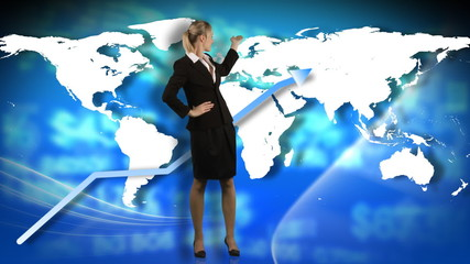 Animation of a businesswoman showing a business graph