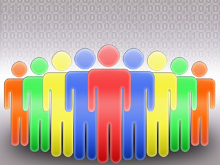 concept of social network. group of people and binary code