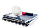 Blue school textbook and piggy bank poster