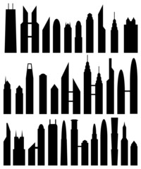skyscraper silhouettes set of thirty