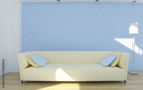 White leather Couch to face a blank blue wall - with cushions