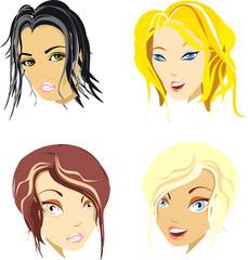 four stylisch girls as fine vector