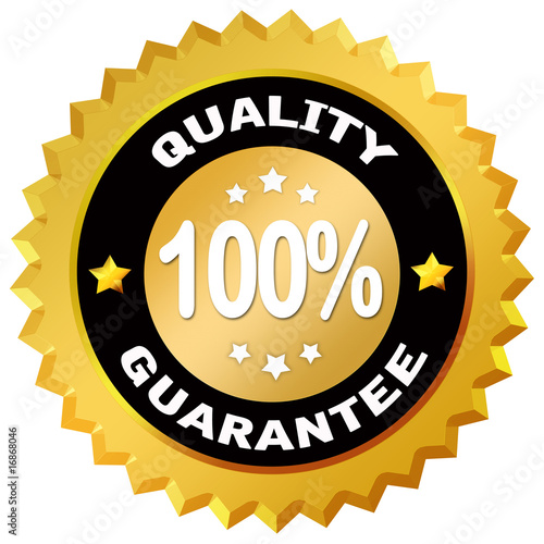 100 percent quality guarantee label over white