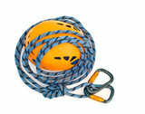 climbing equipment - carabiners, blue rope and helmet