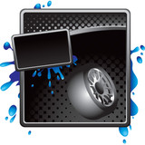 Fototapety Black halftone tire advertisement