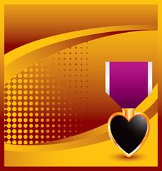 Purple heart gold halftone backdrop