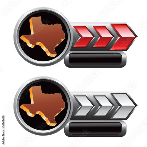 Red and silver arrow advertisments of texas icons