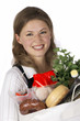 Healthy Looking Young Woman with Holding Groceries Bag