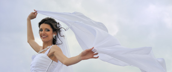The bride with a fluttering veil