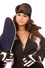 woman with snowboard