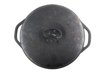 cast iron cauldron with cover from the top